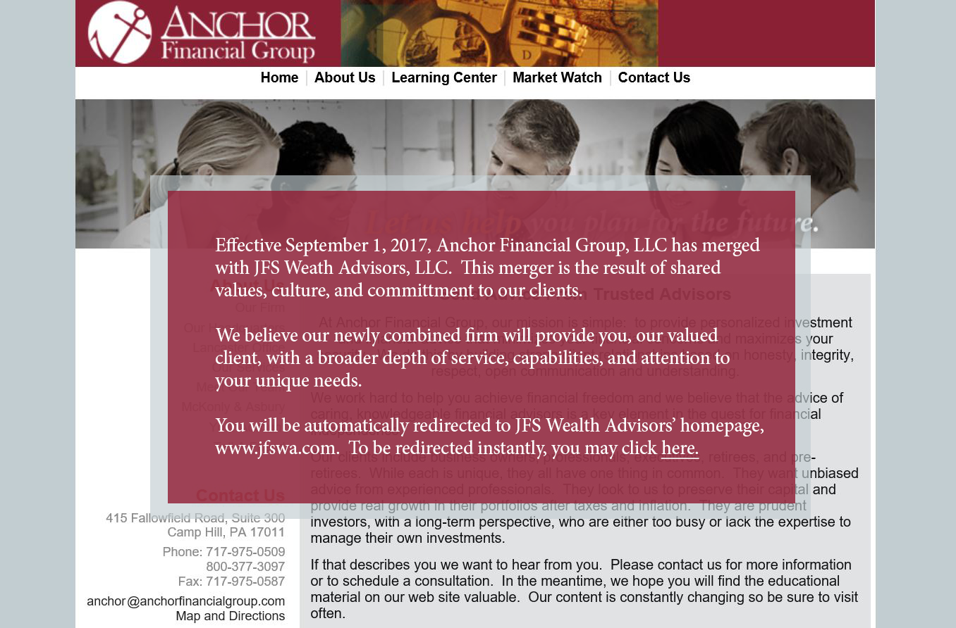 Anchor financial landing image